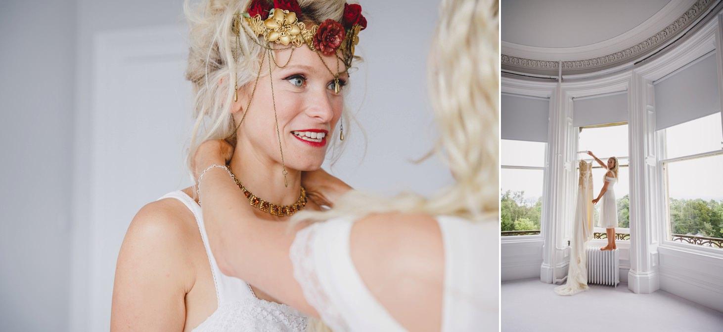 mount stuart wedding photography bride getting dressed