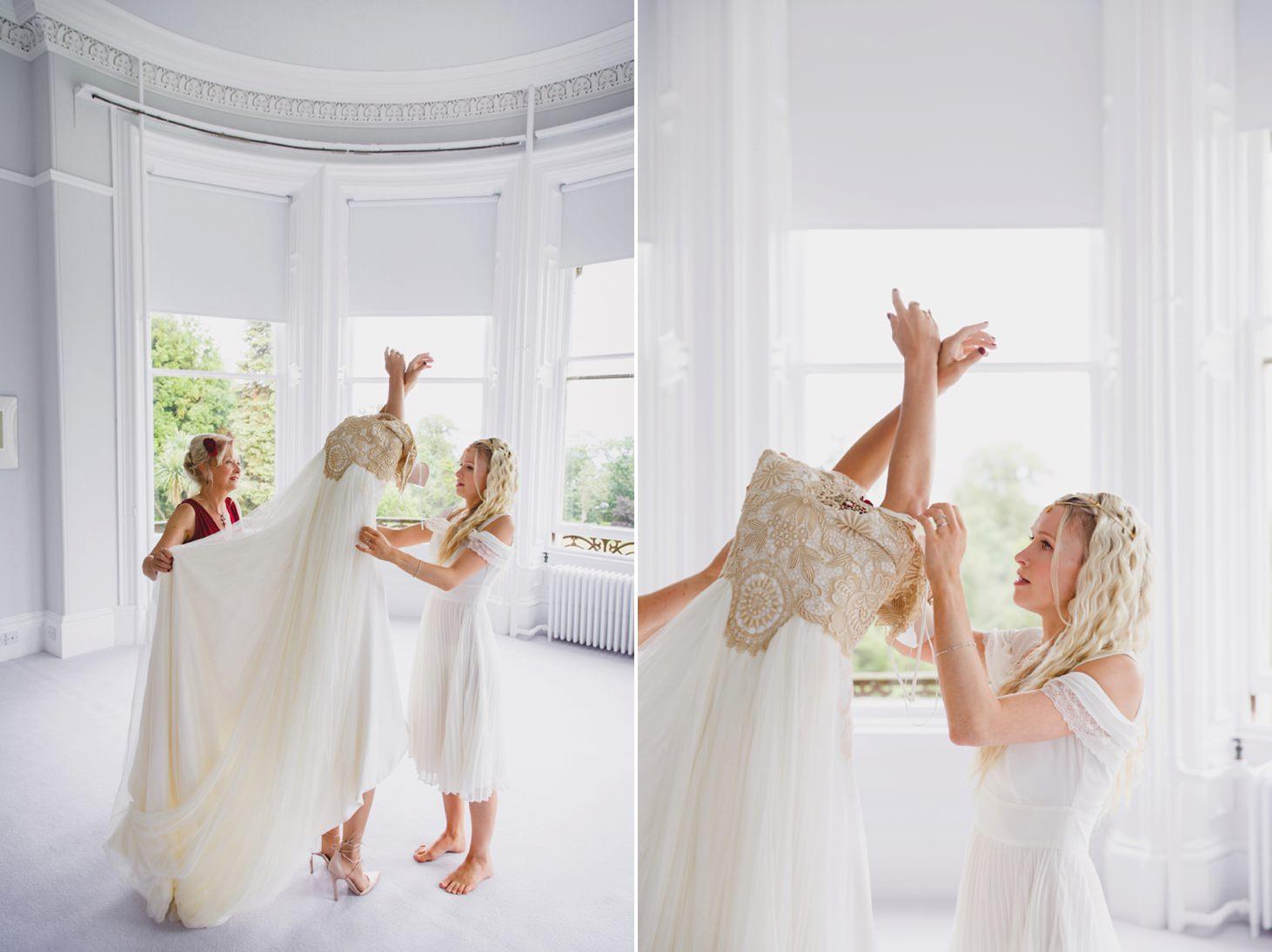mount stuart wedding photography bride pulling on dress