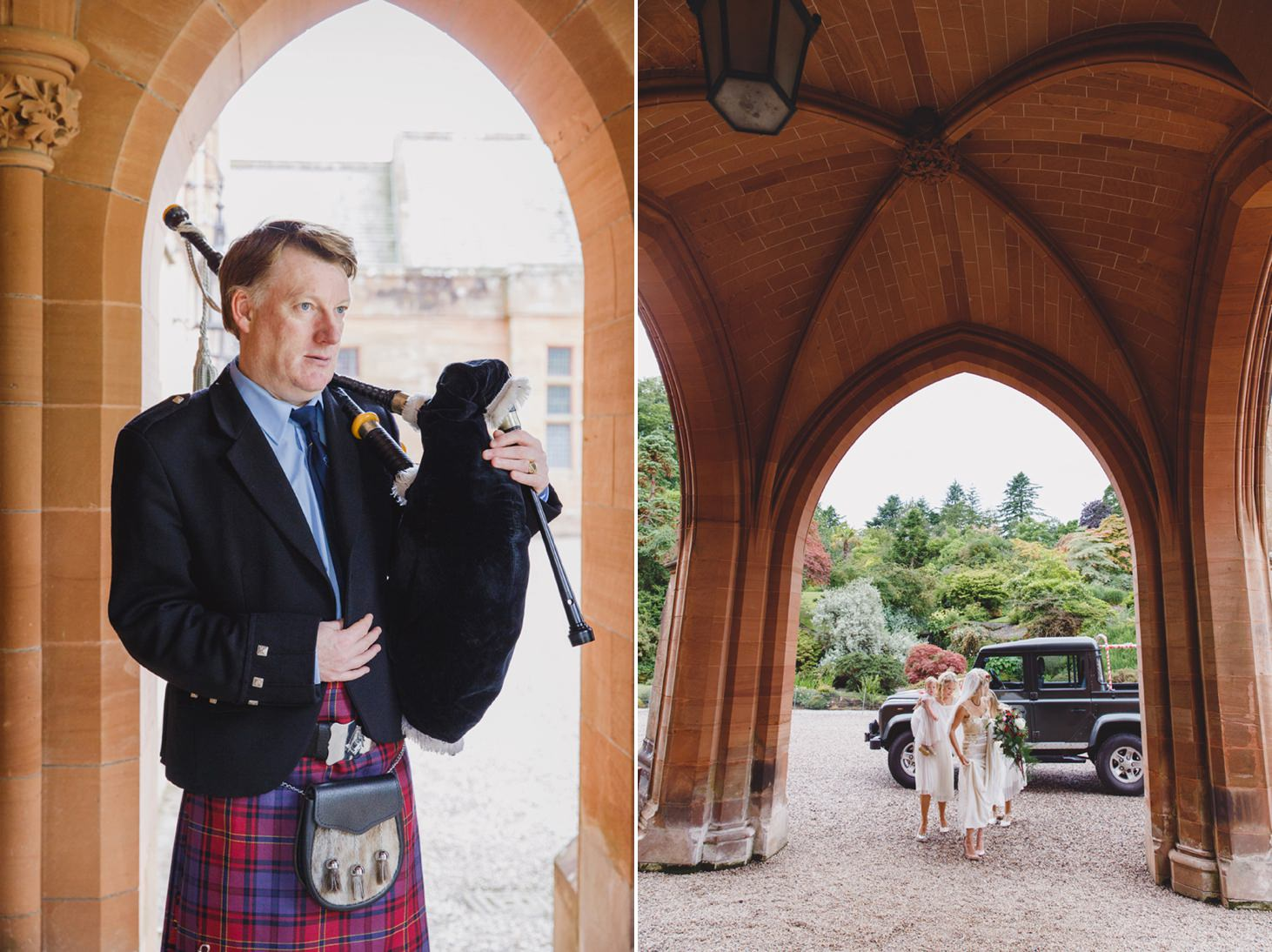 mount stuart wedding photography bagpiper