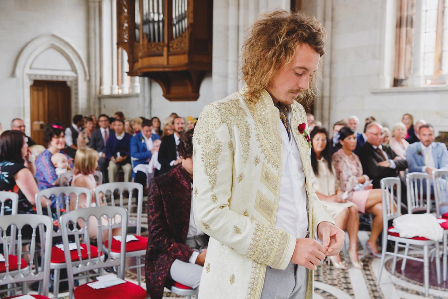 mount stuart wedding photography groom waiting for bride