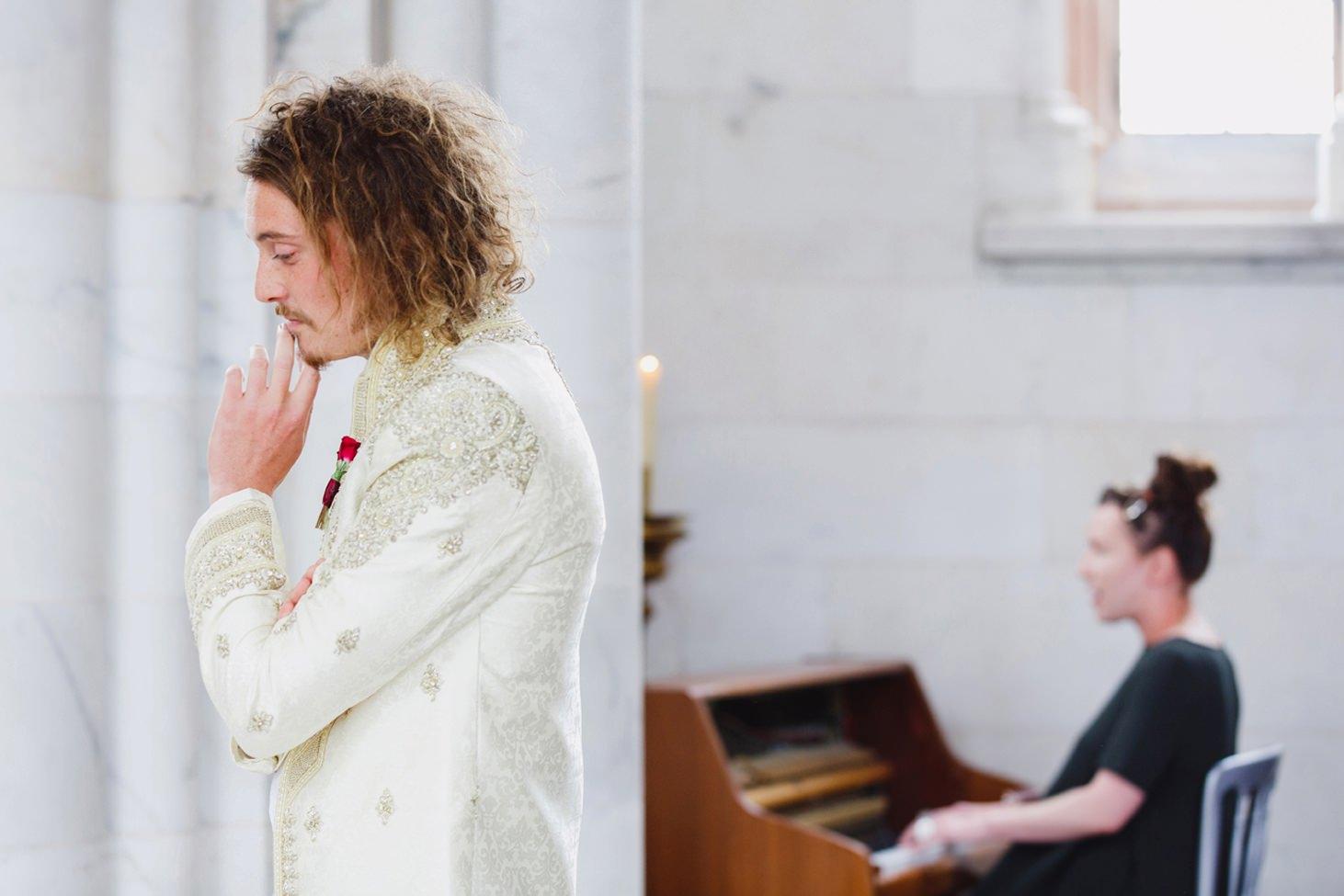 mount stuart wedding photography waiting groom