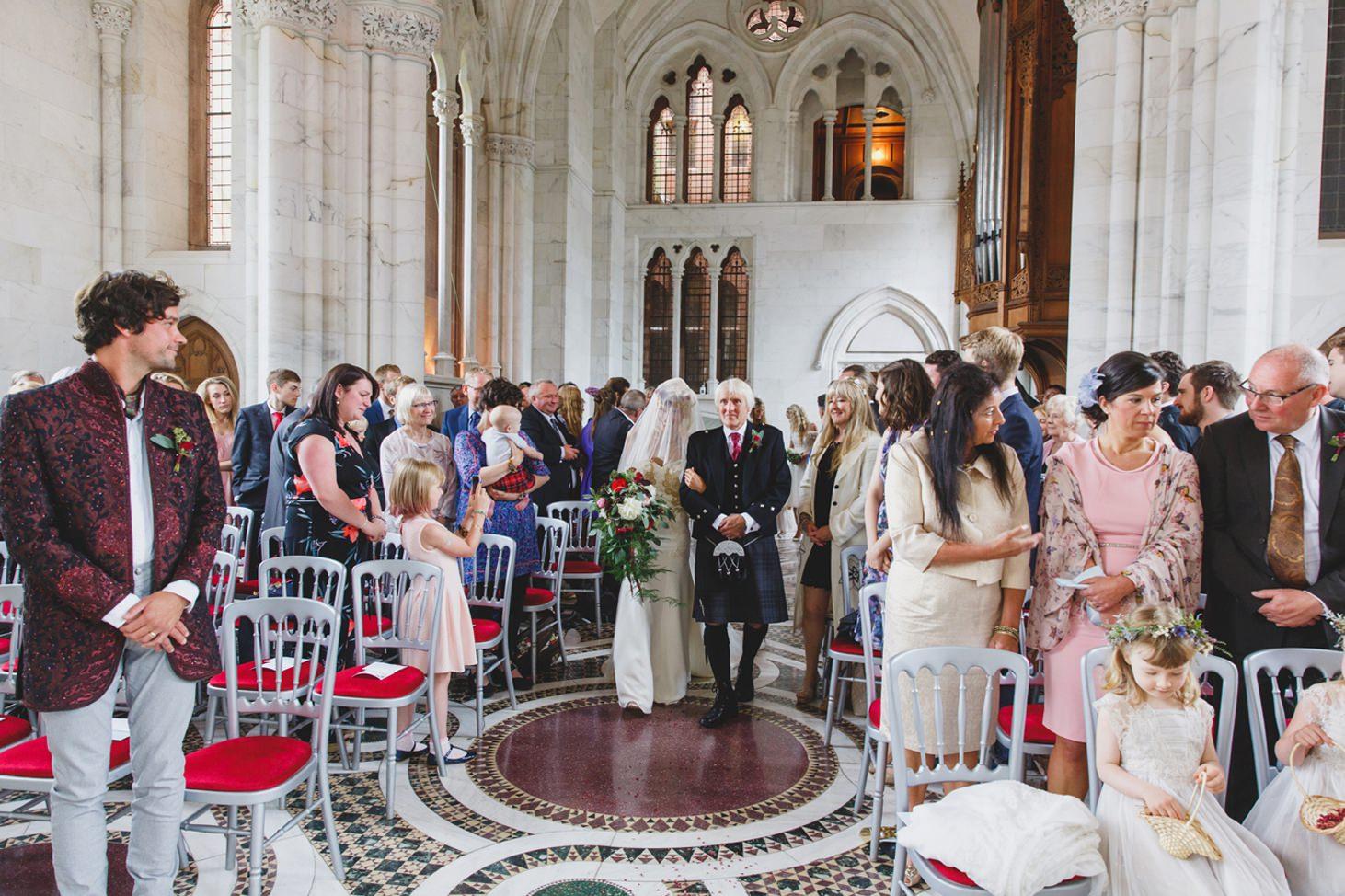 mount stuart wedding photography bride walking down altar