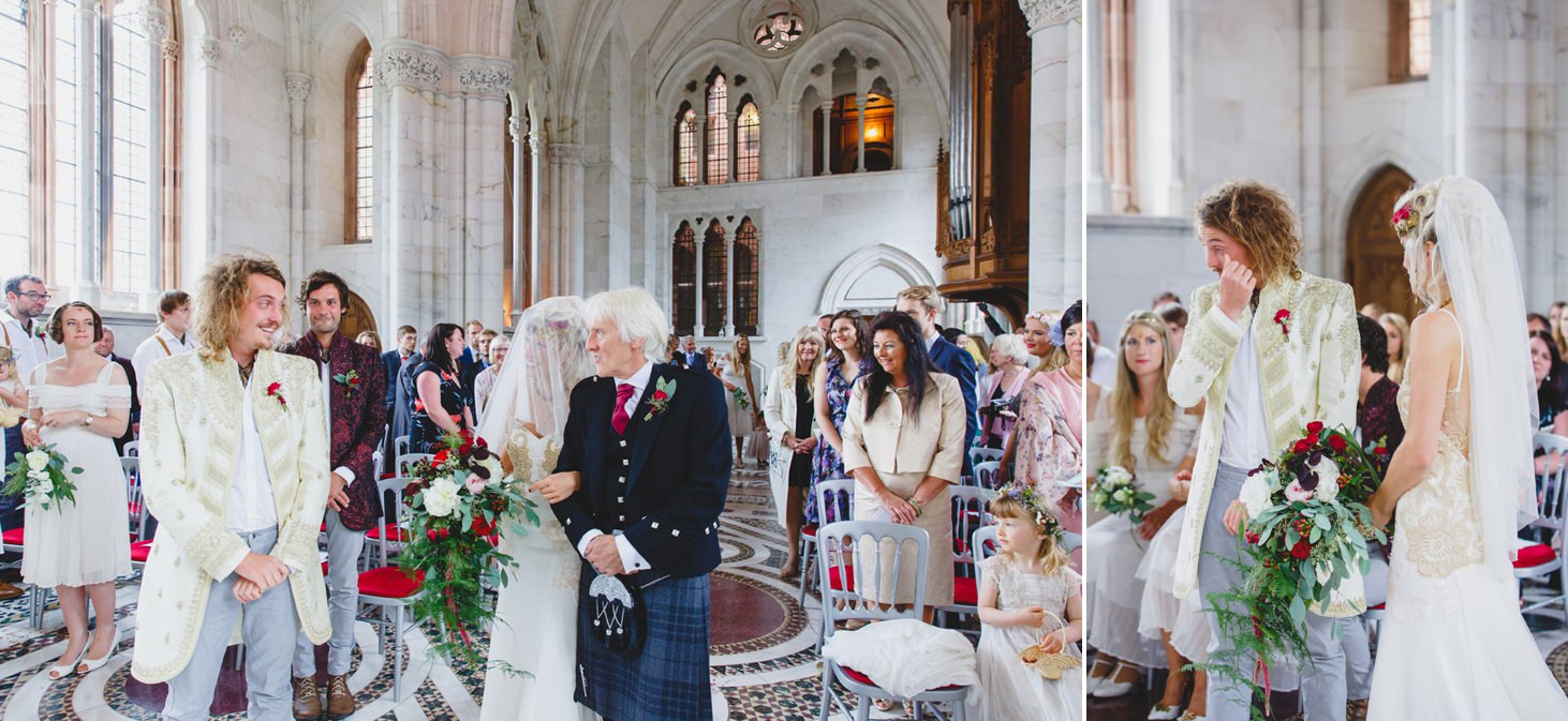 mount stuart wedding photography bride greets groom