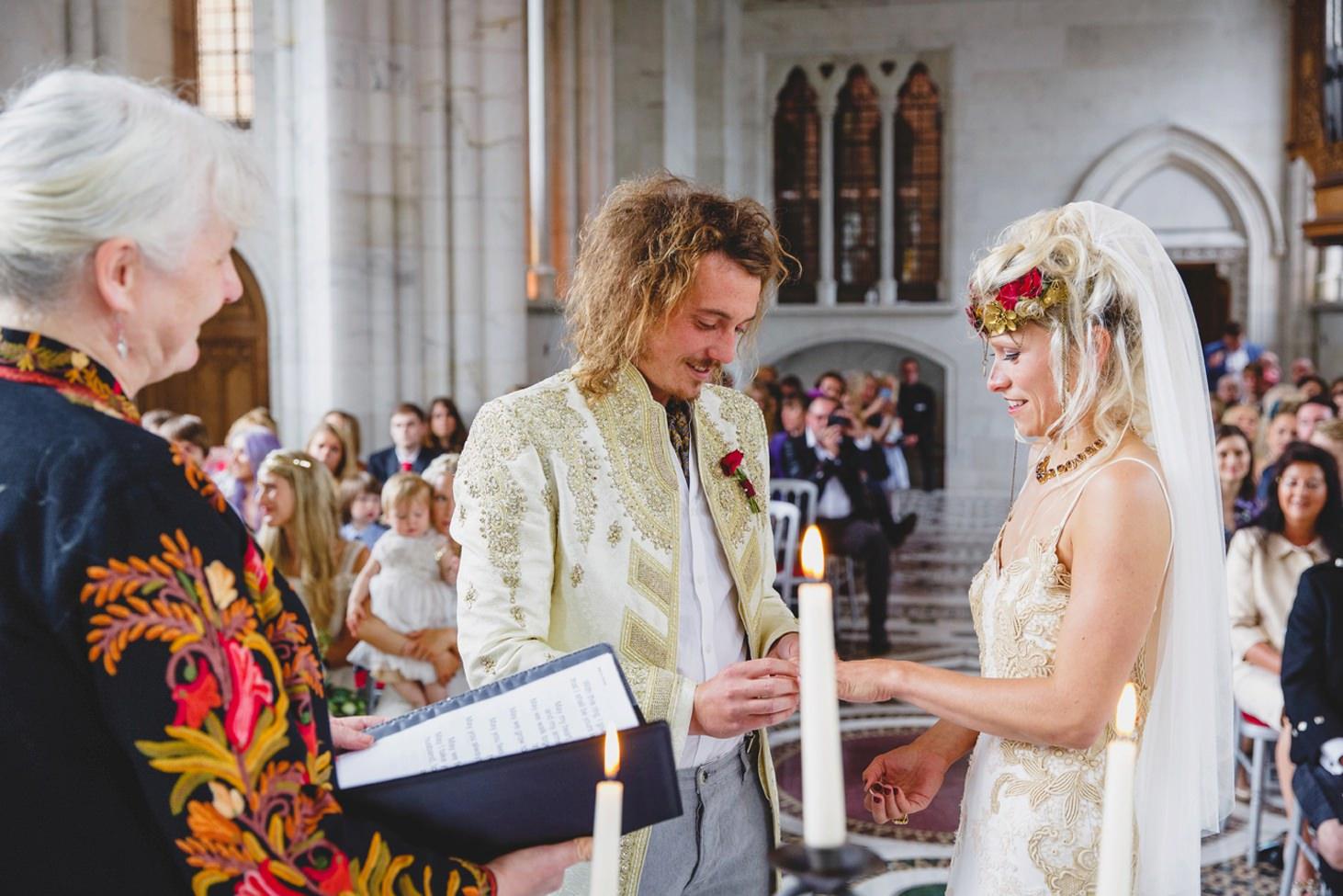 mount stuart wedding photography bride and groom exchange rings