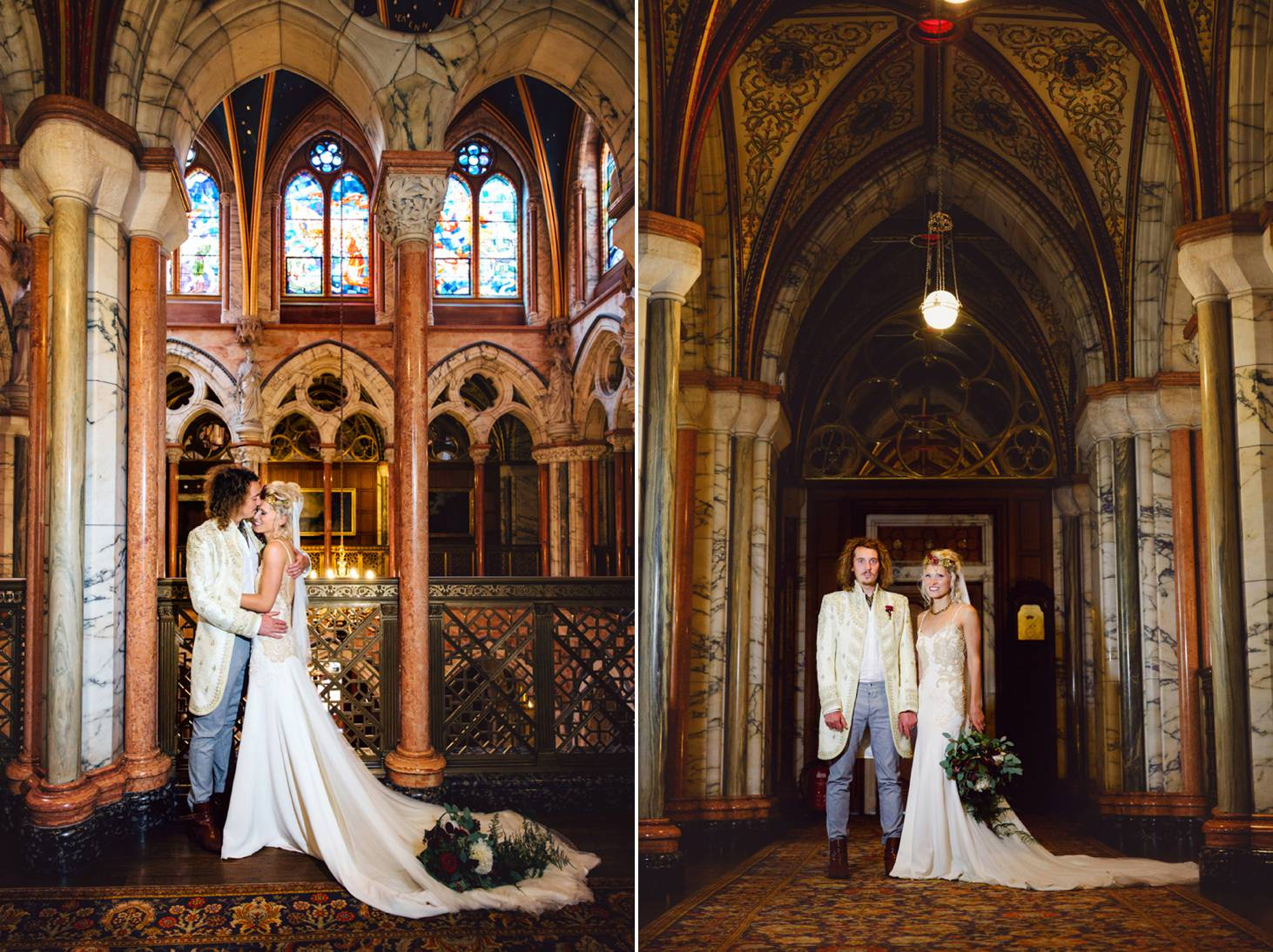 mount stuart wedding photography marble hall corridor