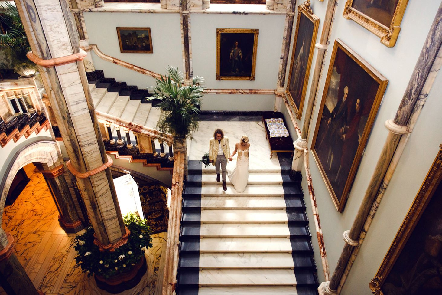 mount stuart wedding photography bride and groom on staircase