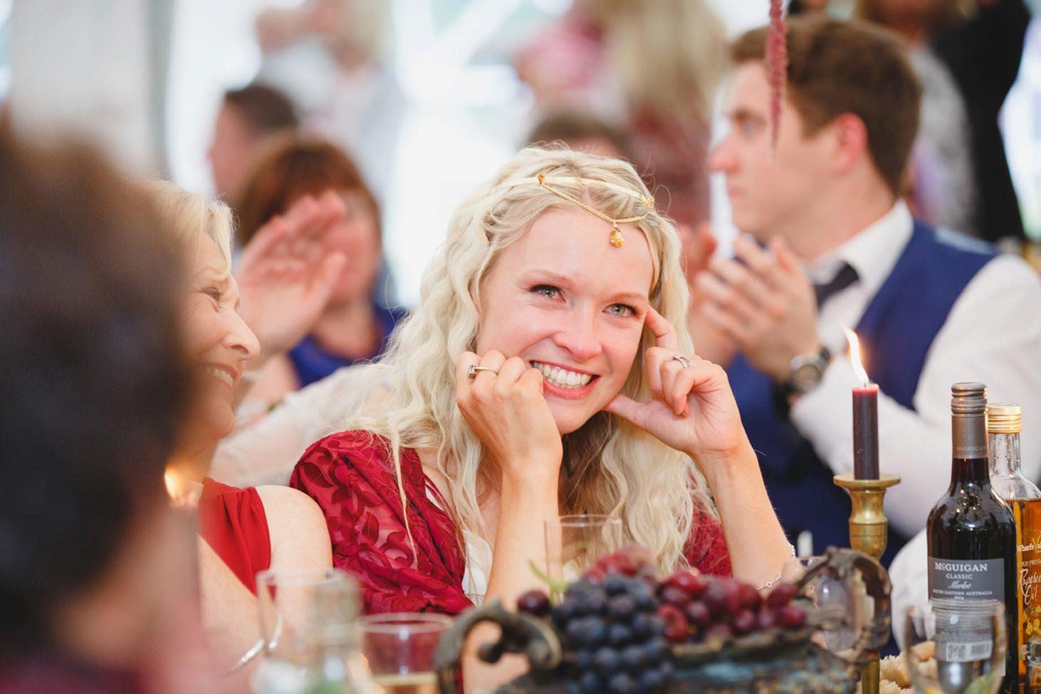 mount stuart wedding photography bridesmaid during speeches