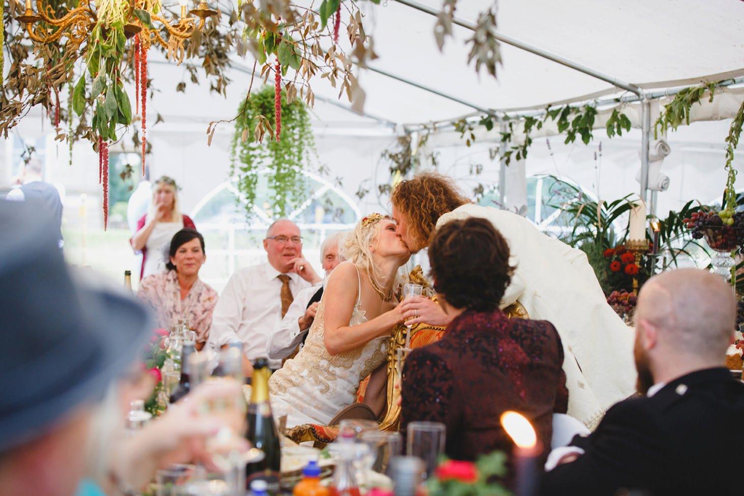 mount stuart wedding photography bride and groom speech kiss