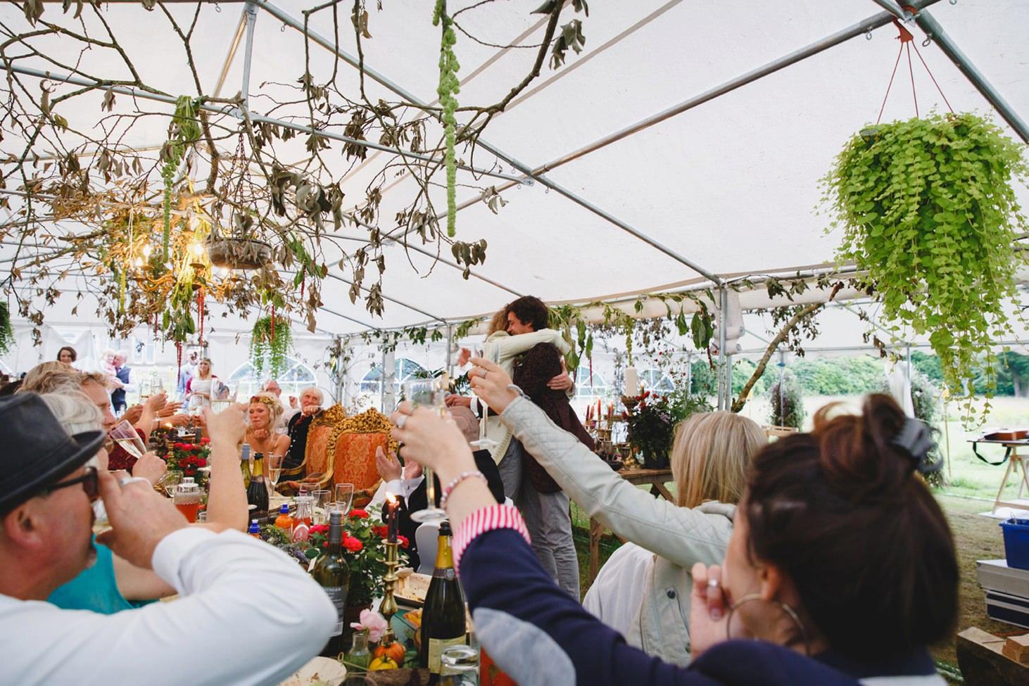 mount stuart wedding photography toasting at speeches