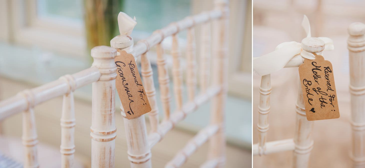 The Rectory Hotel wedding chair labels
