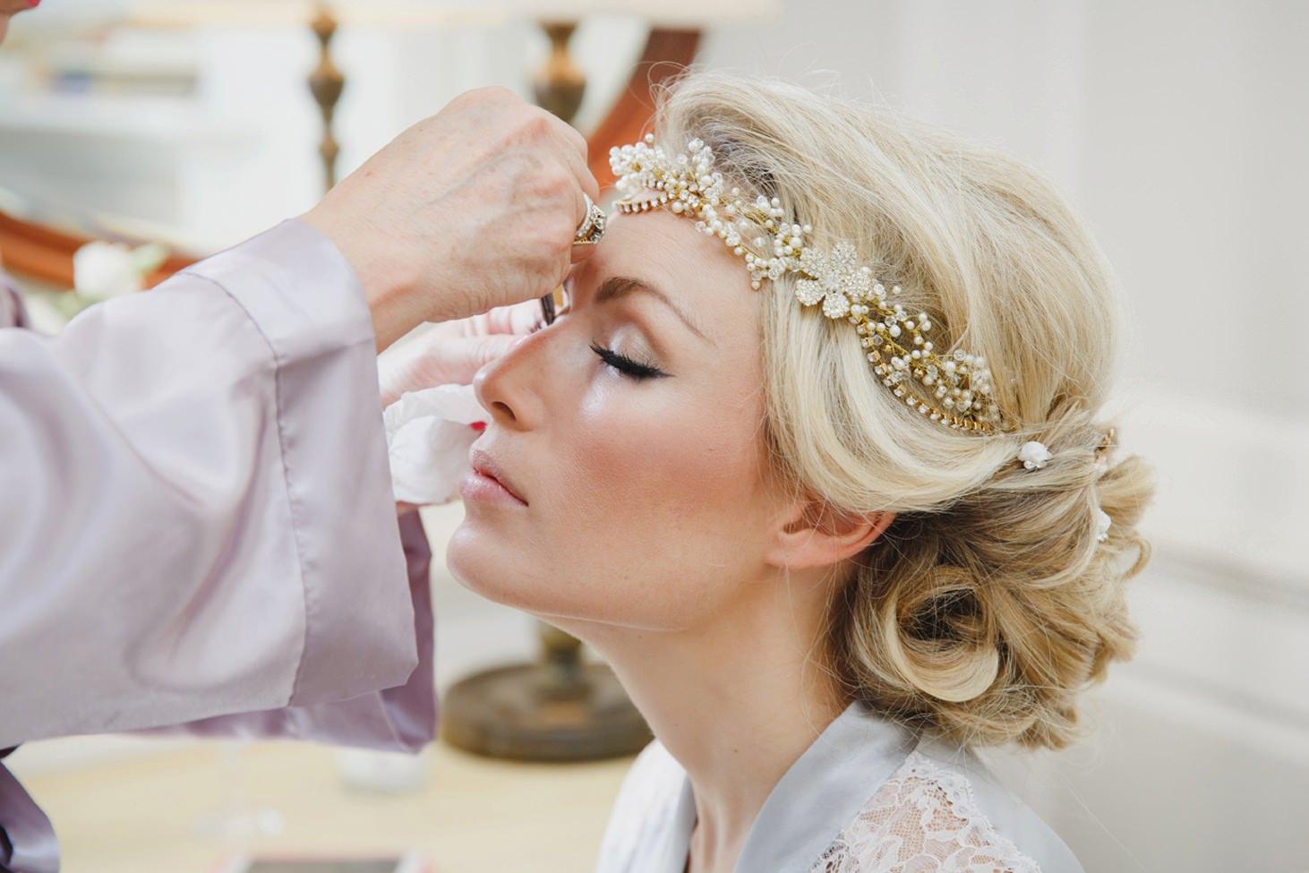The Rectory Hotel Crudwell bride makeup close up