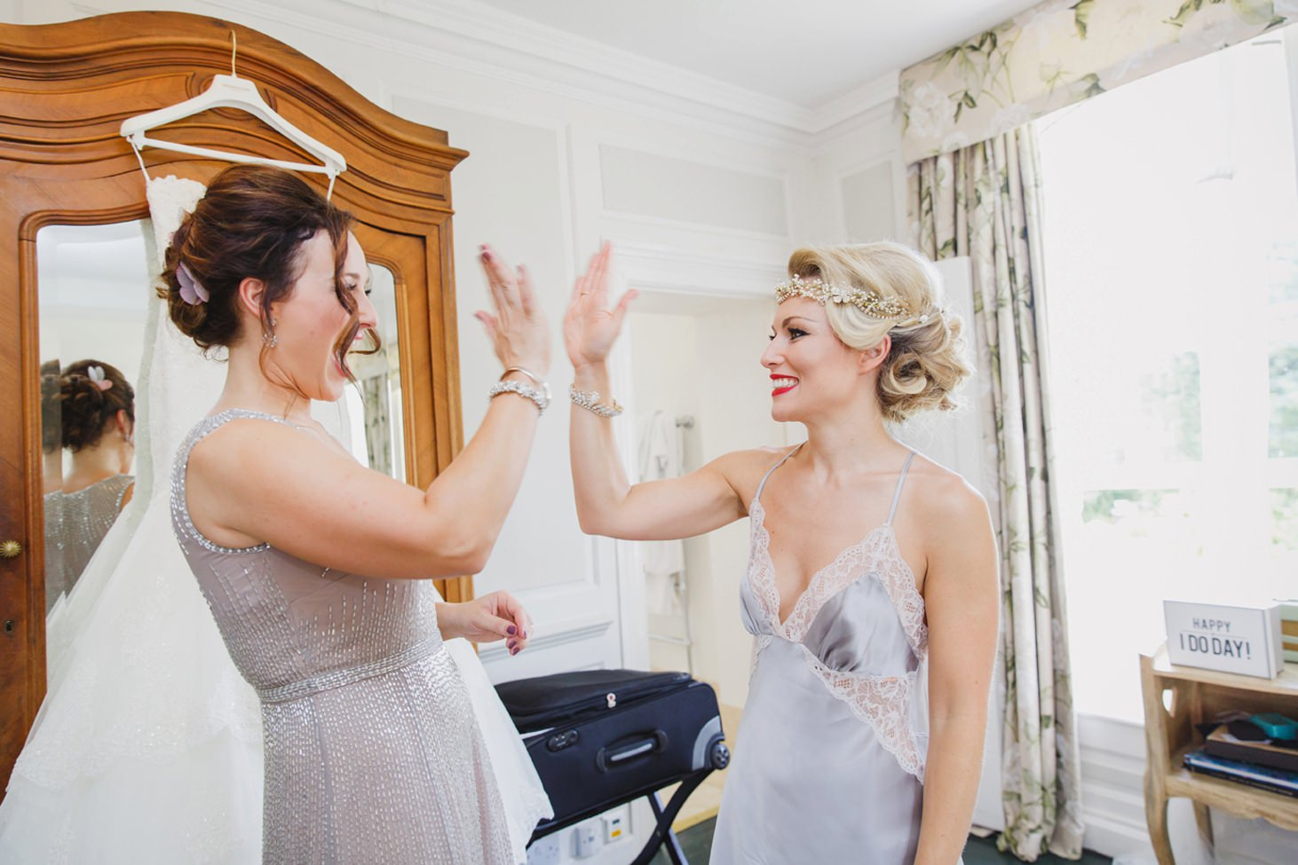 The Rectory Hotel Crudwell bride with bridesmaid