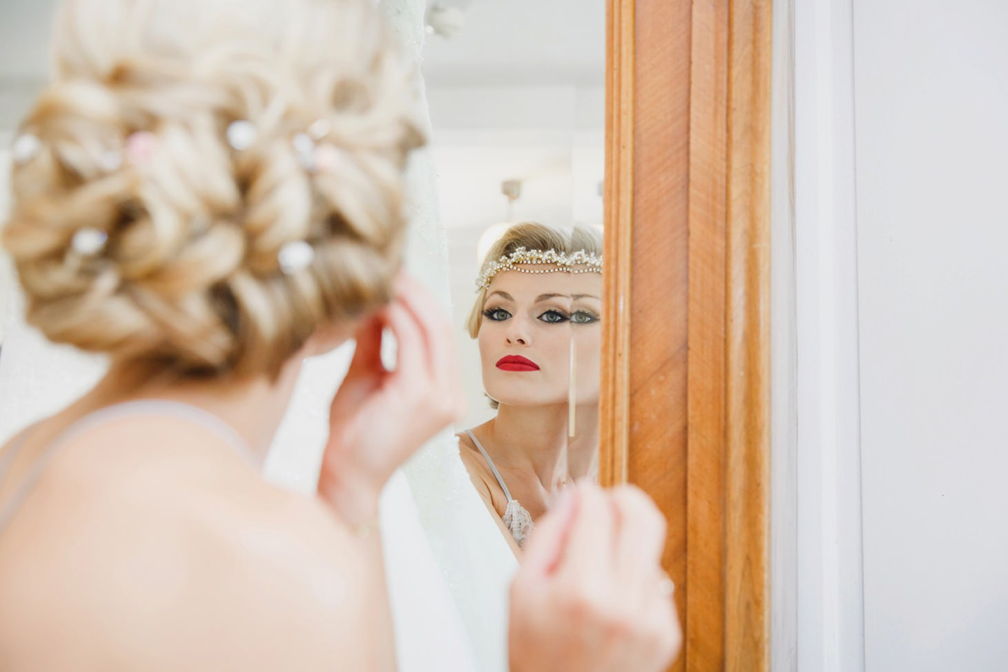 The Rectory Hotel Crudwell bride in mirror