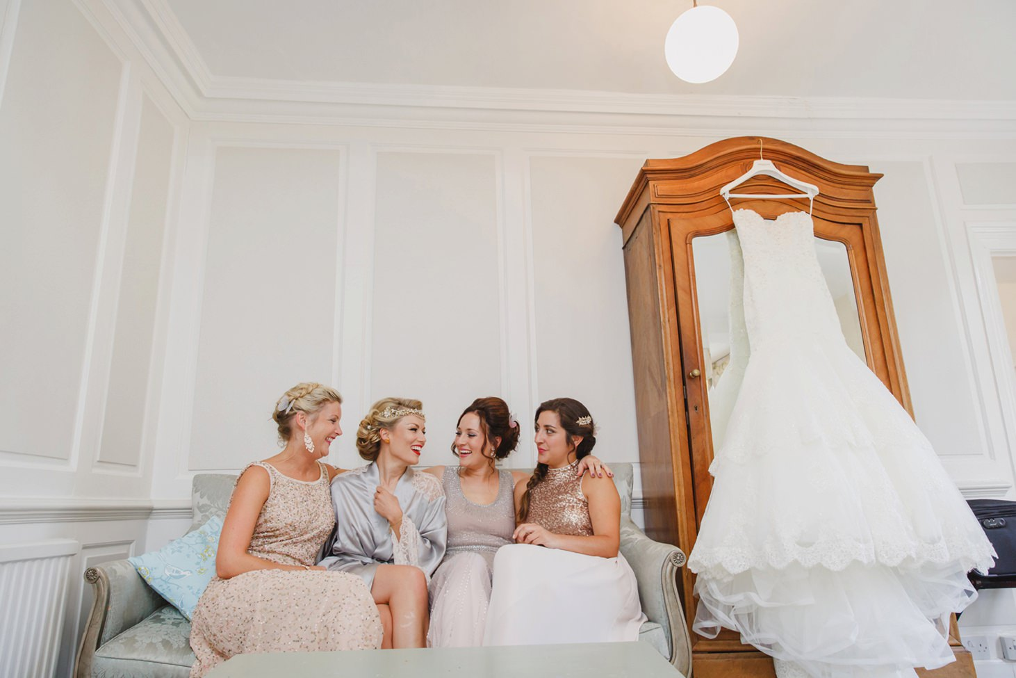 The Rectory Hotel Crudwell bride and bridesmaids together