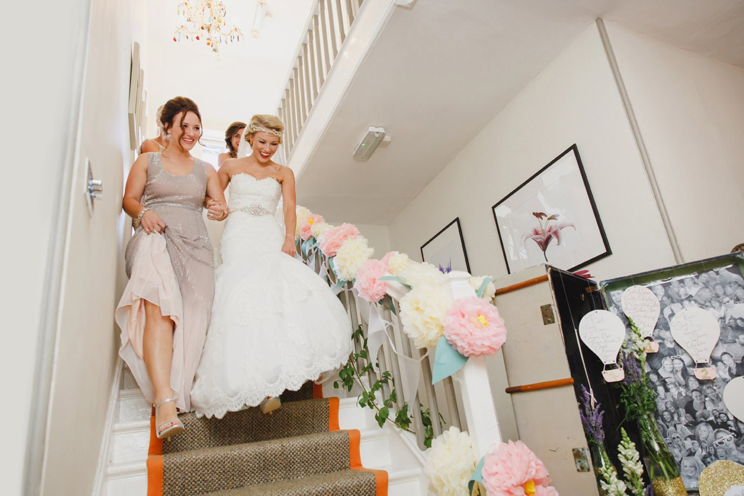The Rectory Hotel Crudwell bride coming down stairs