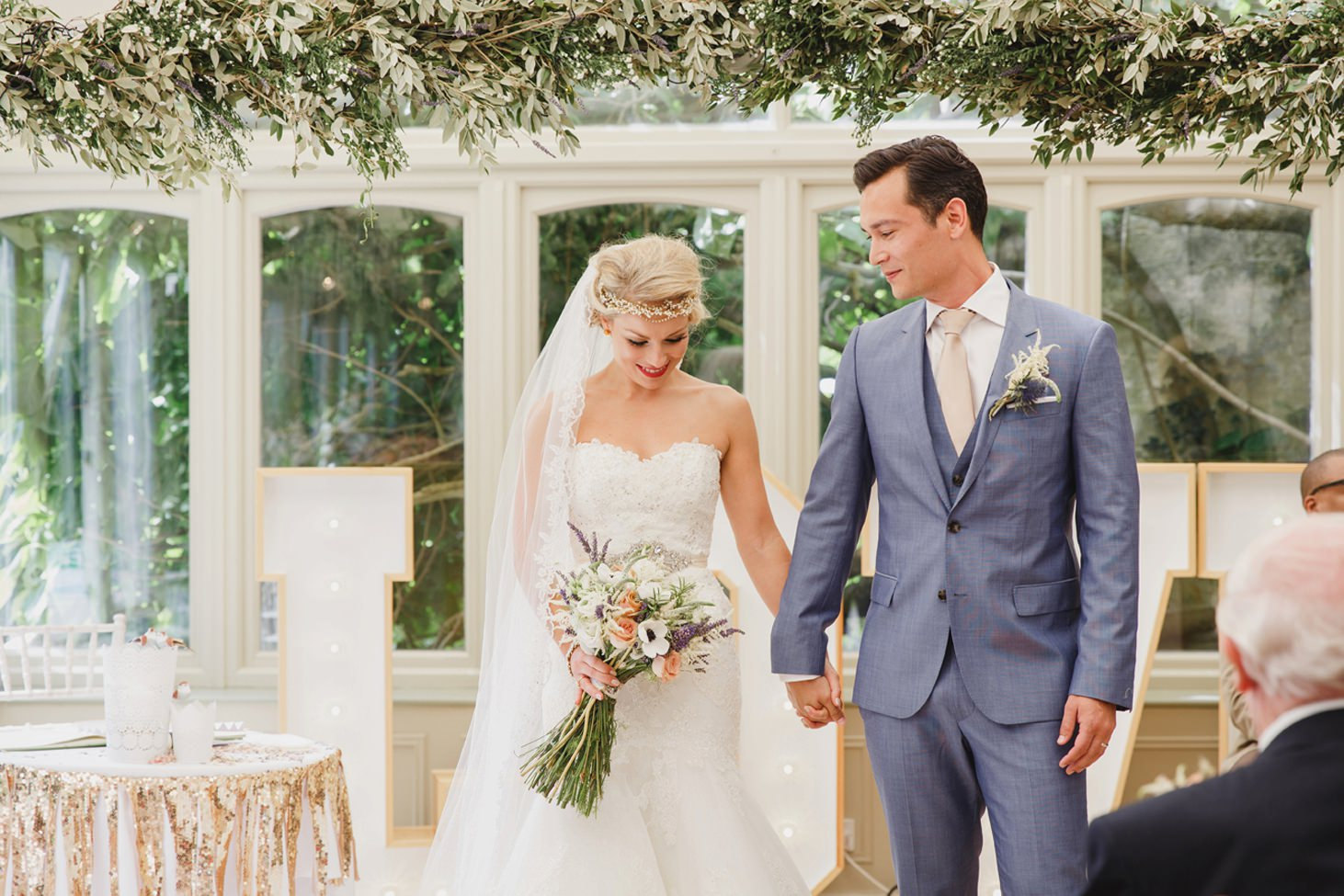 The Rectory Hotel Crudwell bride and groom just married