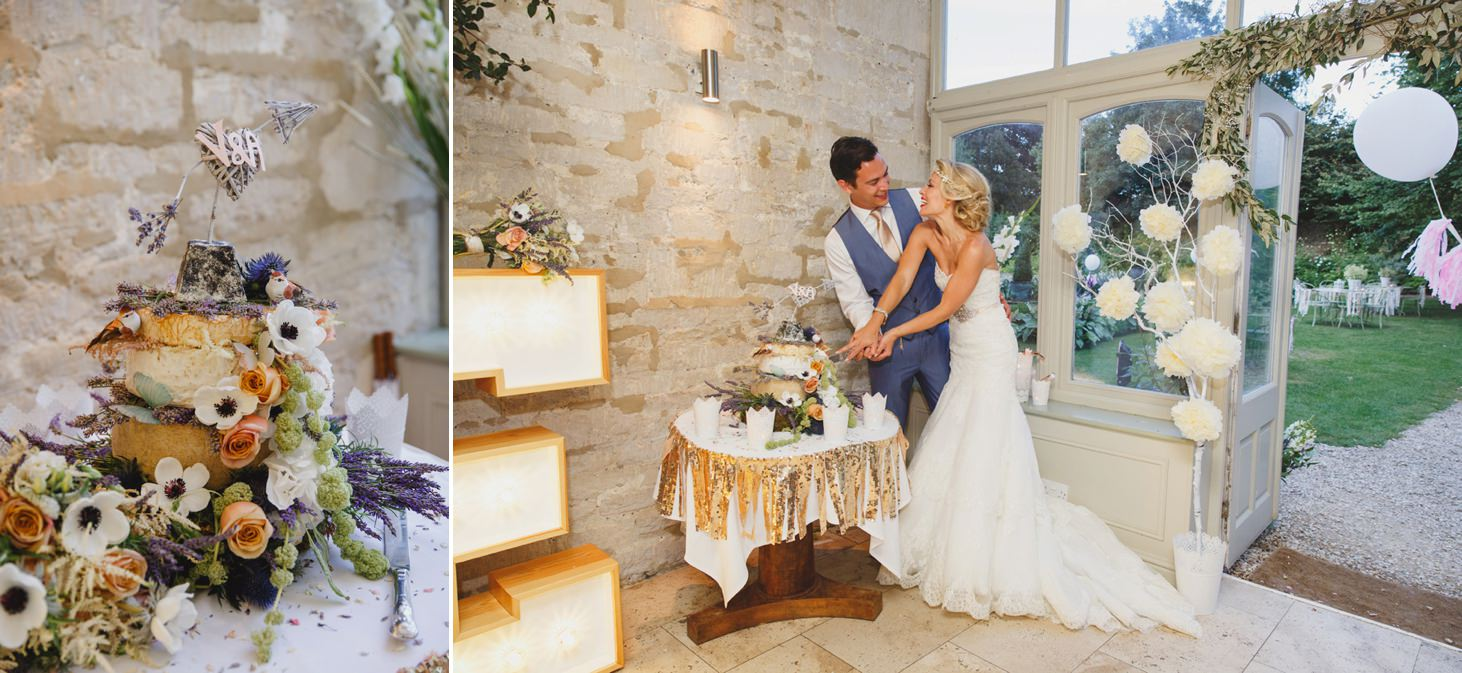 The Rectory Hotel Crudwell wedding cake cutting
