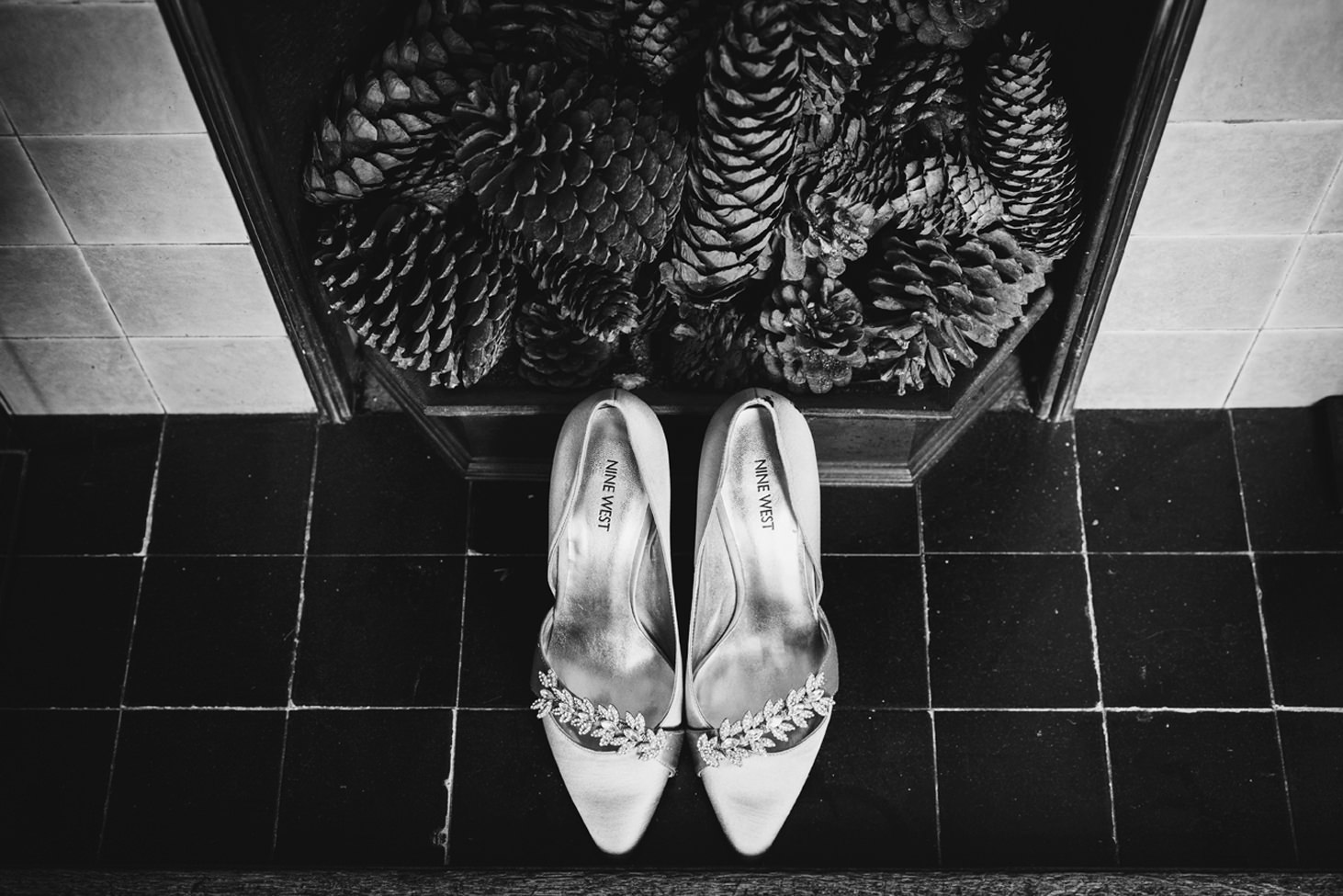 Wycombe Abbey wedding photography bride's wedding shoes