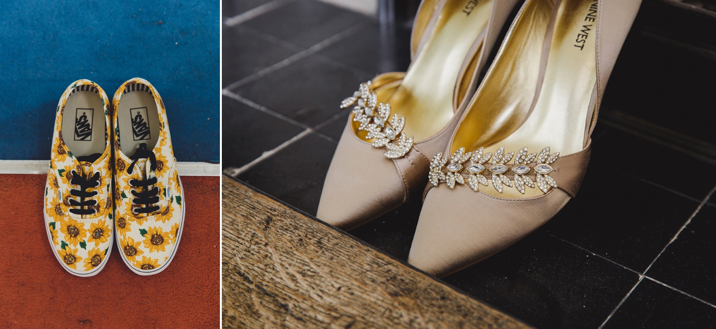Wycombe Abbey wedding photography bride's shoes