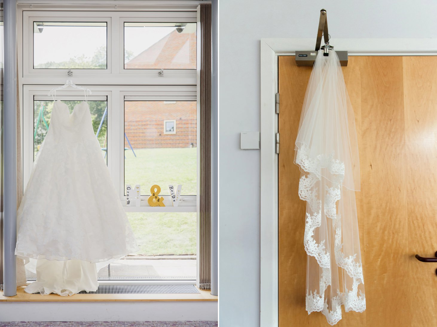 Wycombe Abbey wedding photography bride's dress and veil