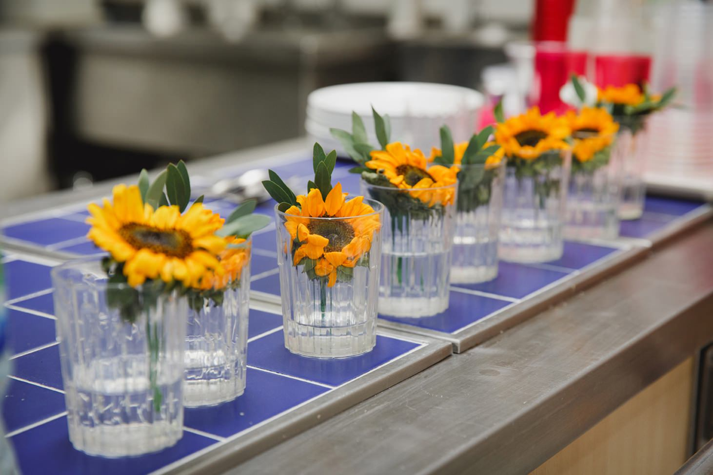 Wycombe Abbey wedding photography sunflower buttonholes