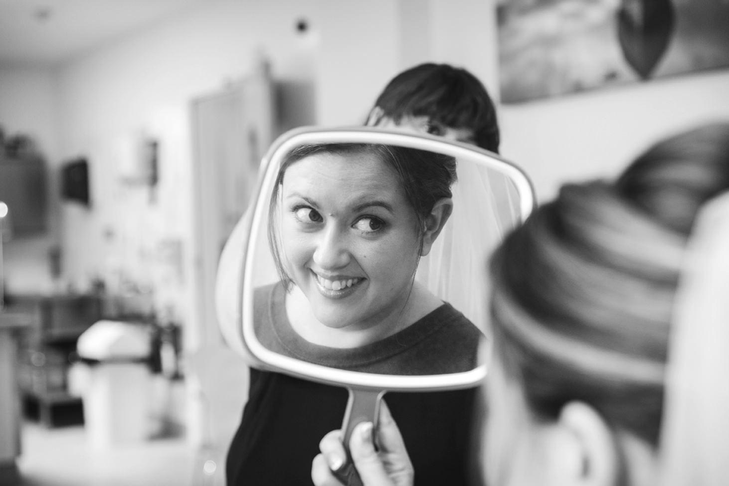 Wycombe Abbey wedding photography bride in mirror