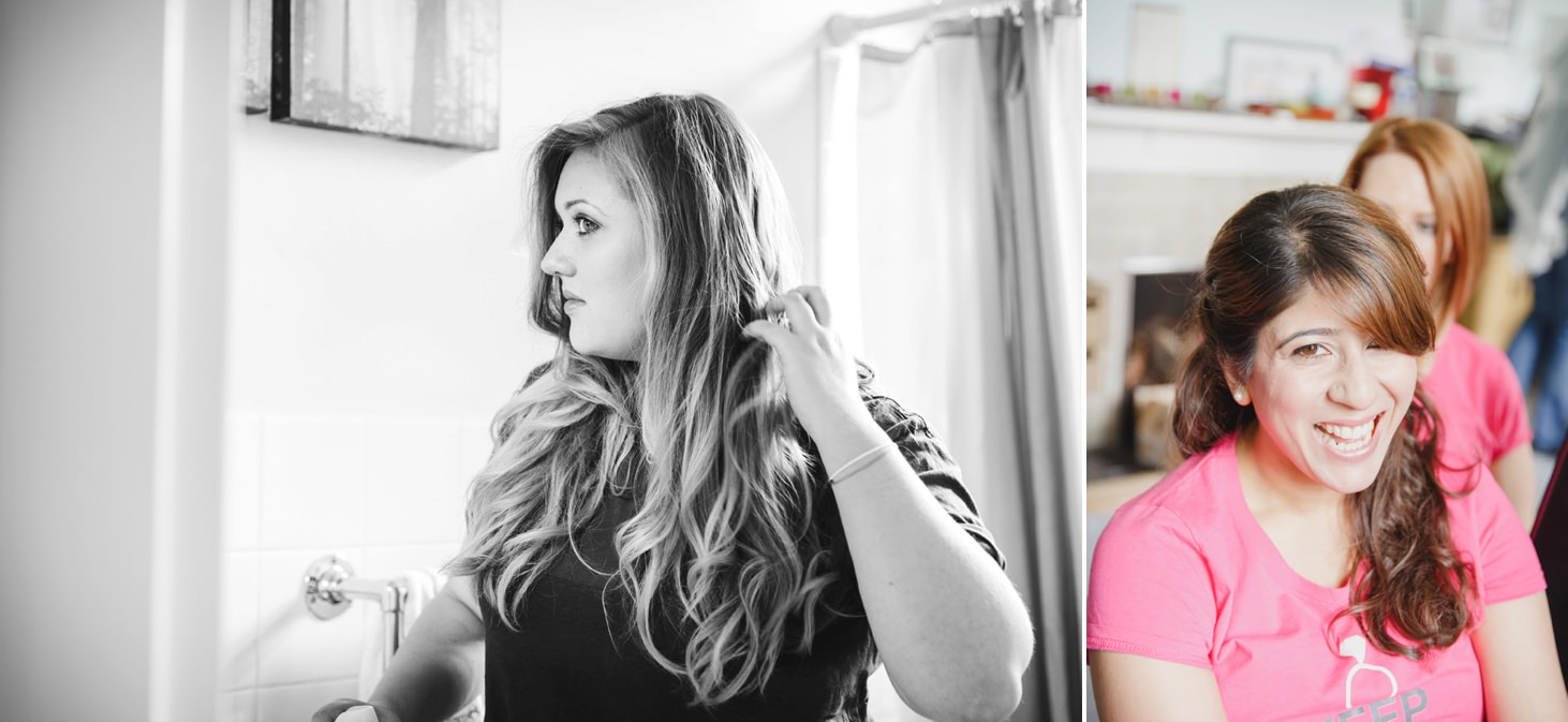 Wycombe Abbey wedding photography bridesmaids doing hair
