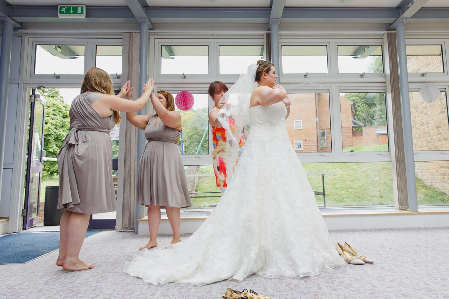 Wycombe Abbey wedding photography bride dressed
