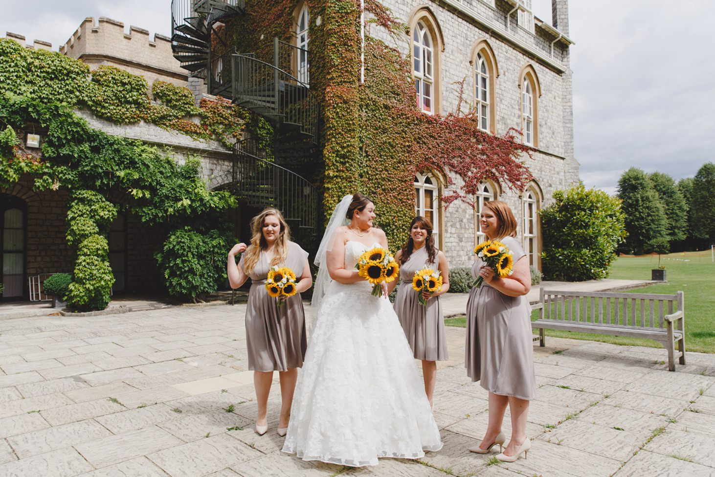 Wycombe Abbey wedding photography bride and bridesmaids before ceremony