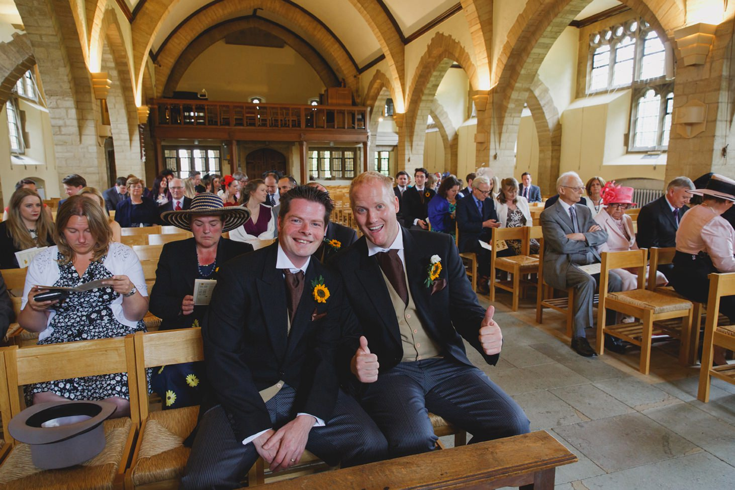 Wycombe Abbey wedding photography groom and best man