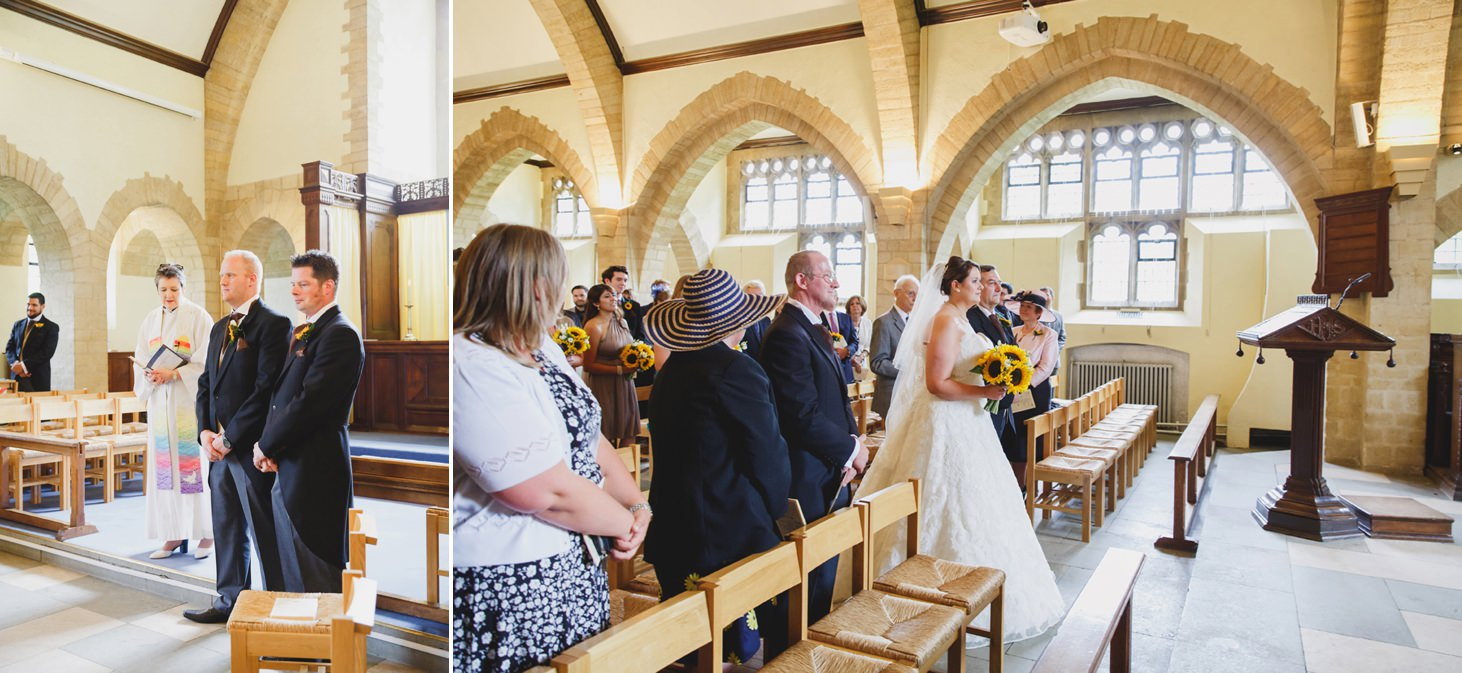 Wycombe Abbey wedding photography bride walking down the aisle