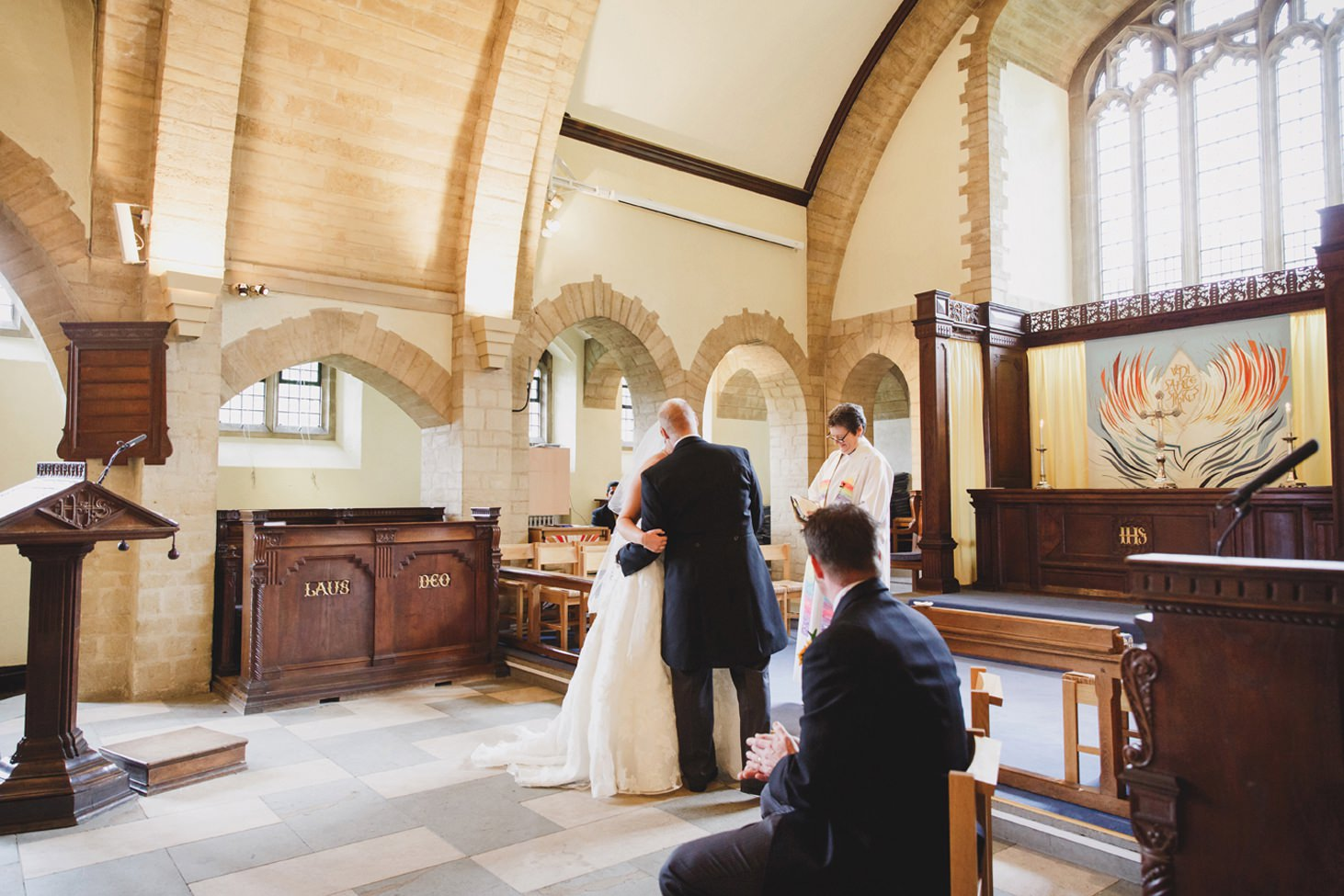 Wycombe Abbey wedding photography bride and groom kiss