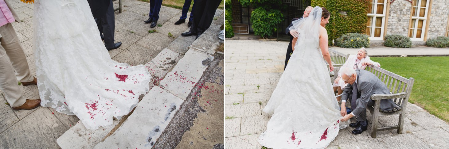 Wycombe Abbey wedding photography confetti on dress