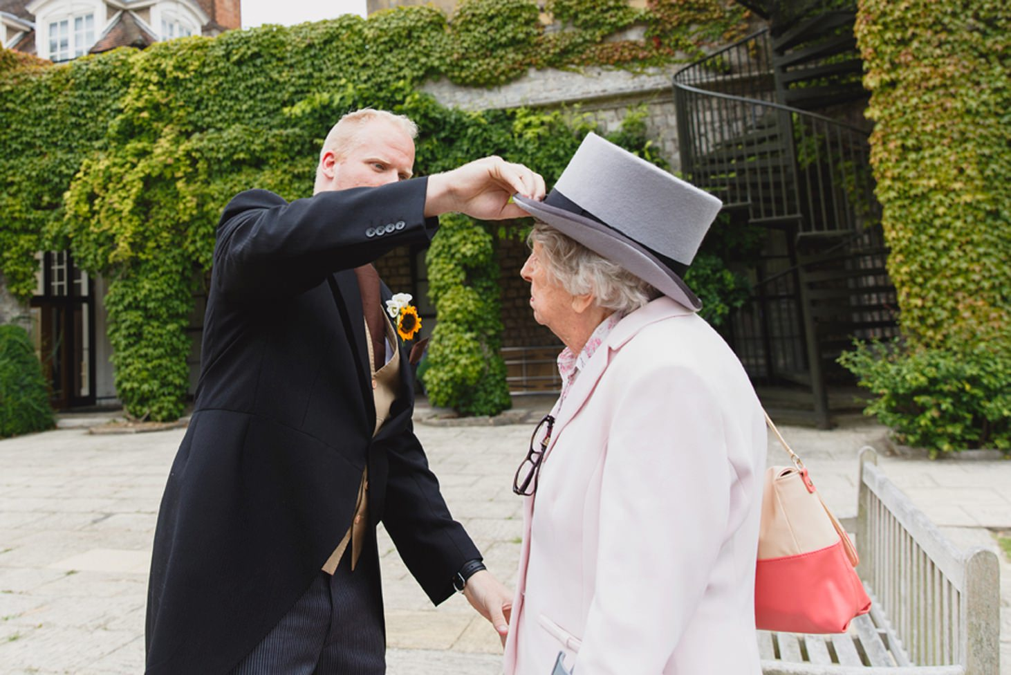 Wycombe Abbey wedding photography groom and bride's grandparents