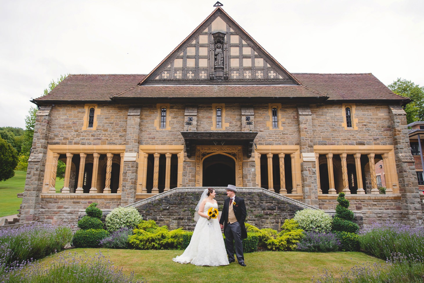 Wycombe Abbey wedding photography bride and groom outside chapel