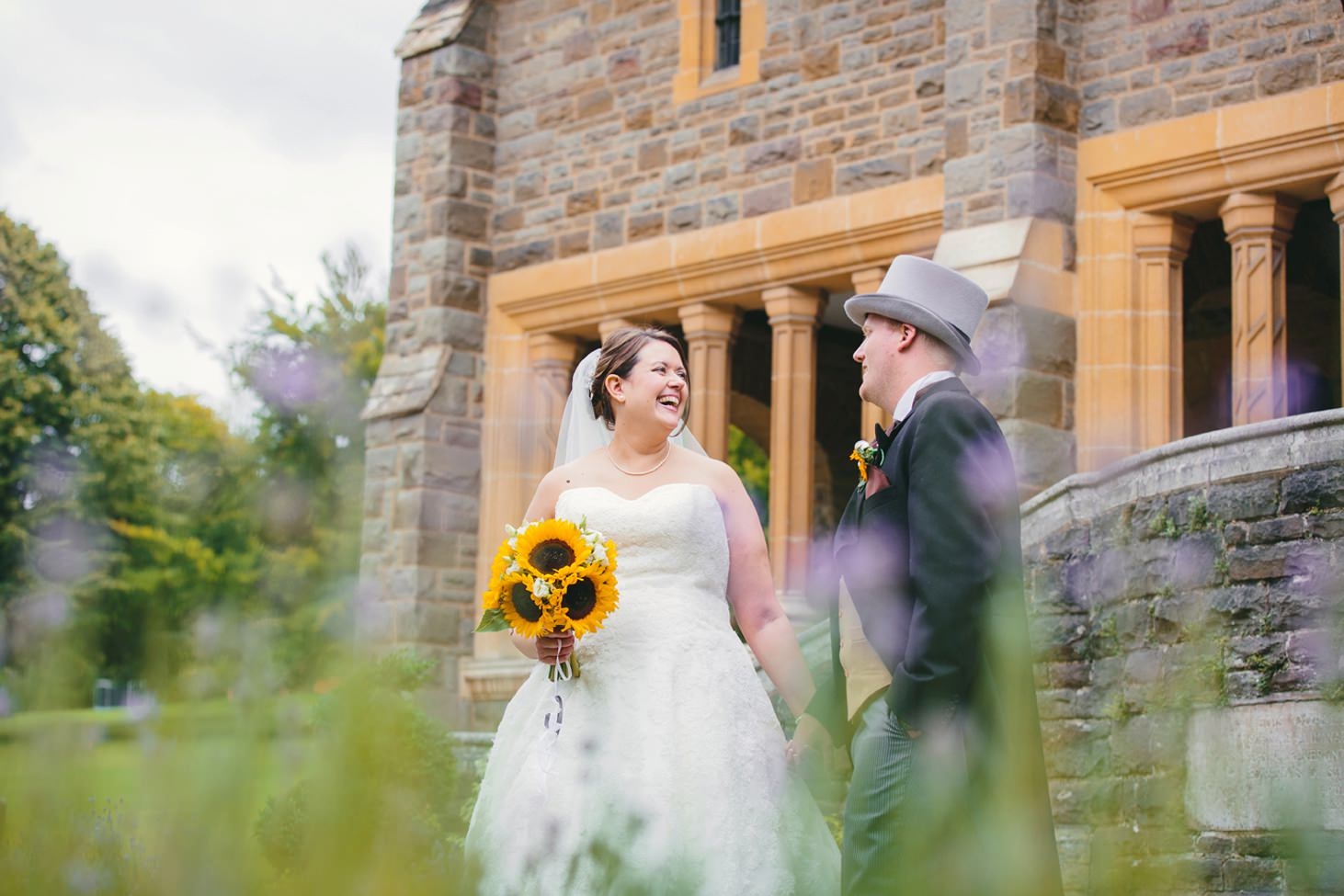 Wycombe Abbey wedding photography groom and bride laughing