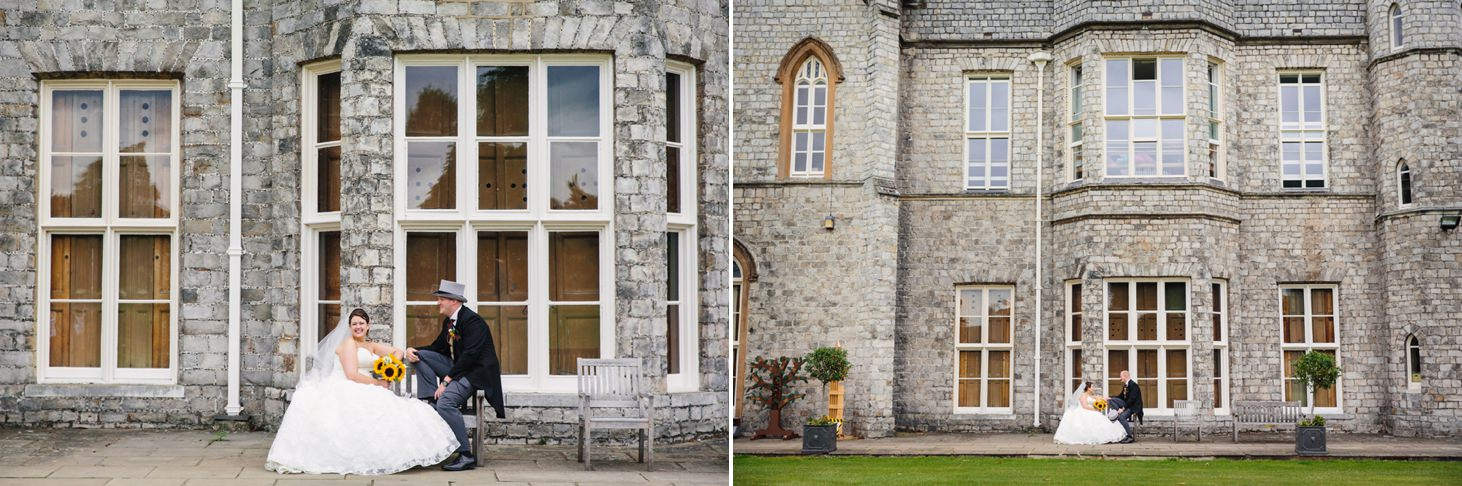 Wycombe Abbey wedding photography bride and groom outside school building