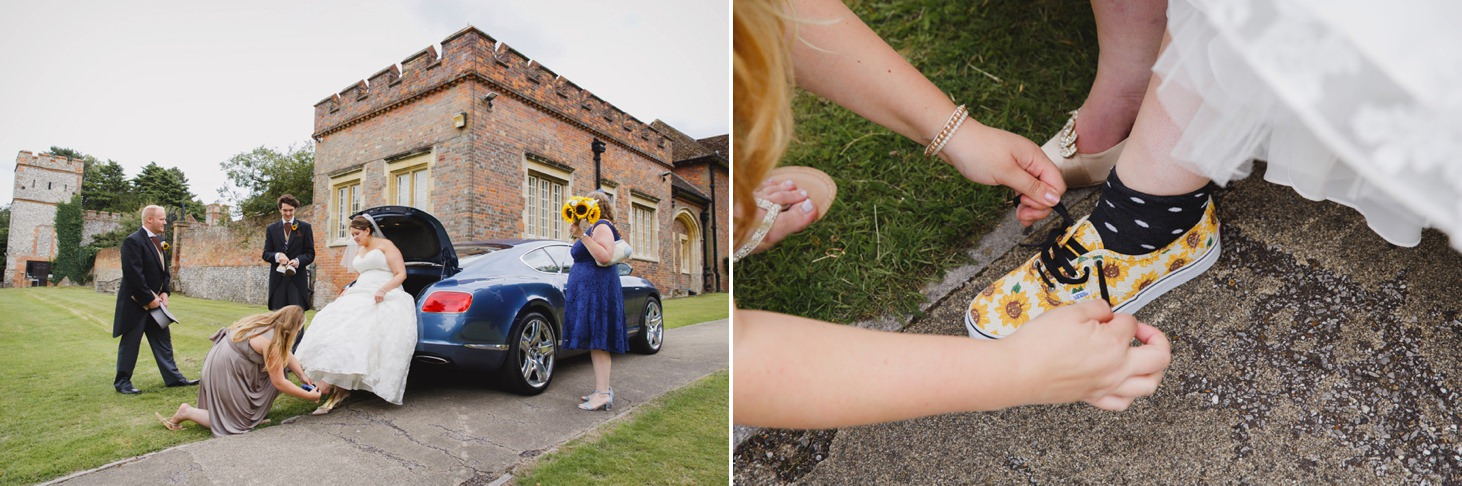 Wycombe Abbey wedding photography bride changing shoes
