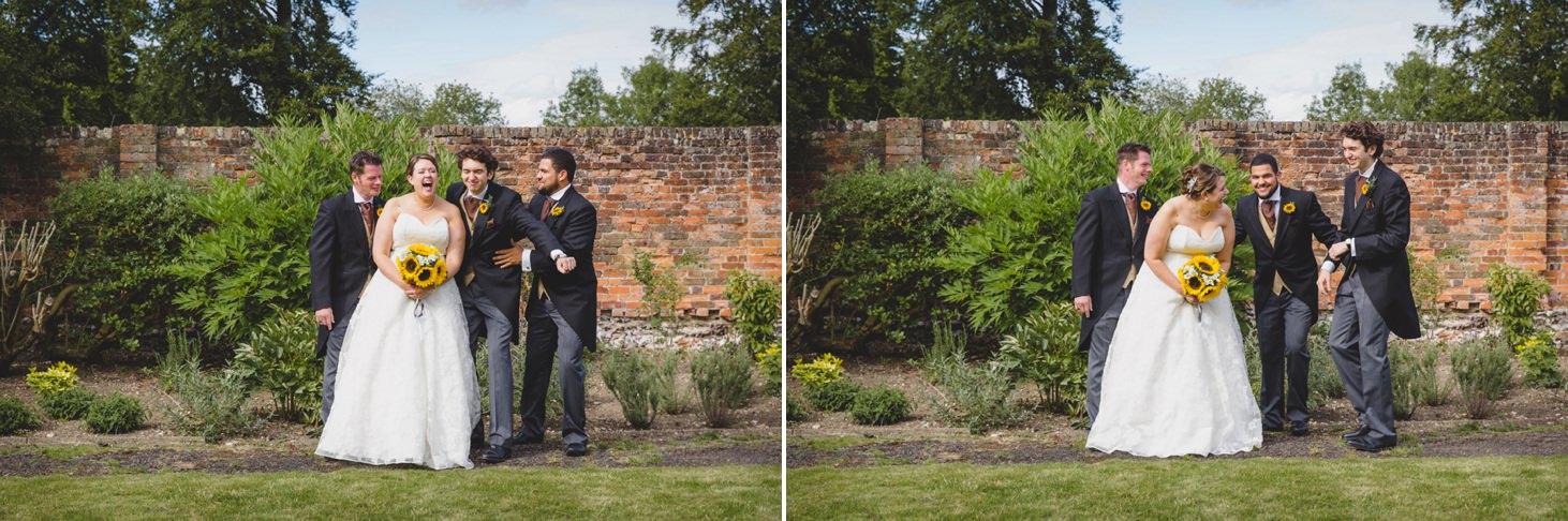 bride joking with groomsmen