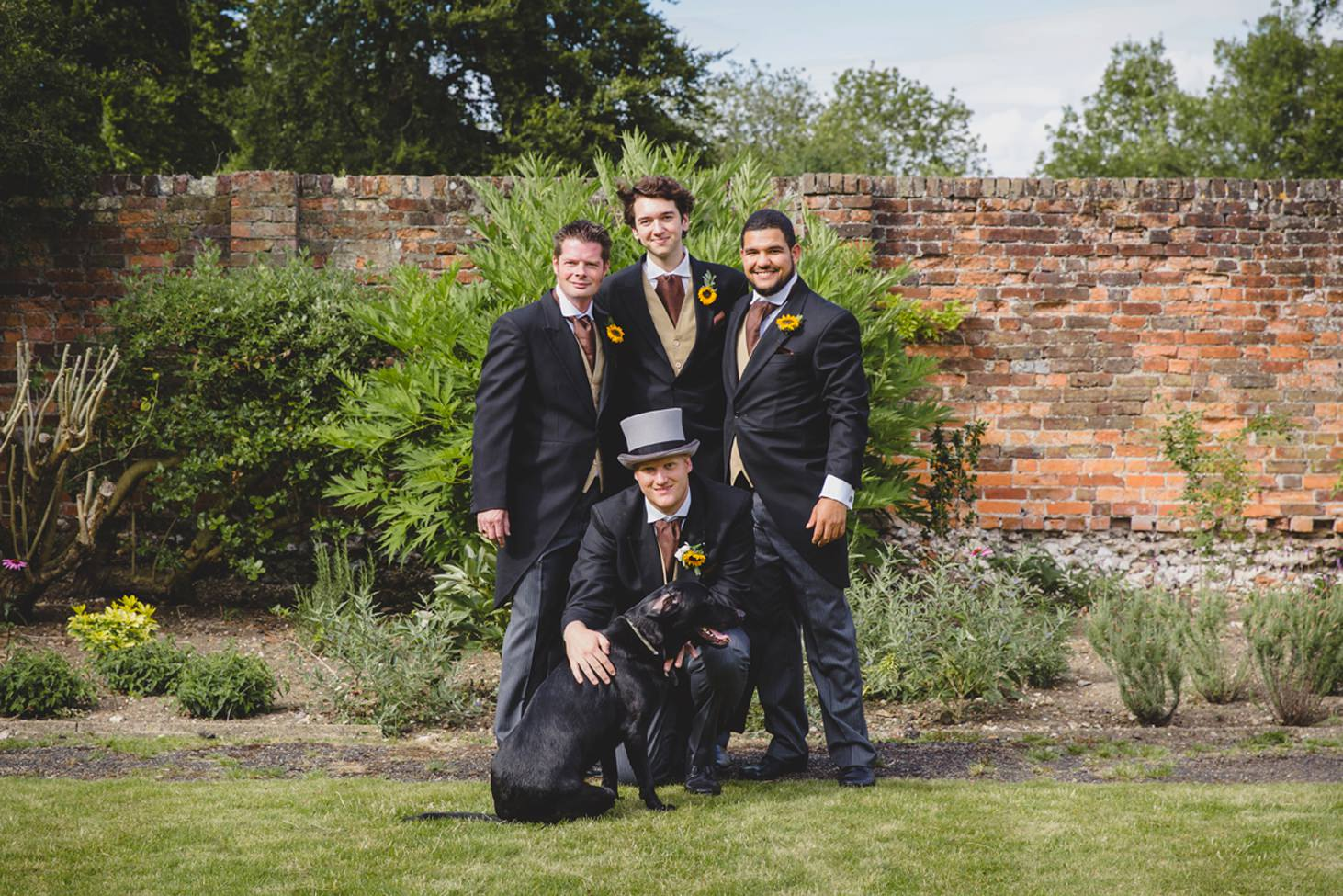 Wycombe Abbey wedding photography groomsmen portrait with dog