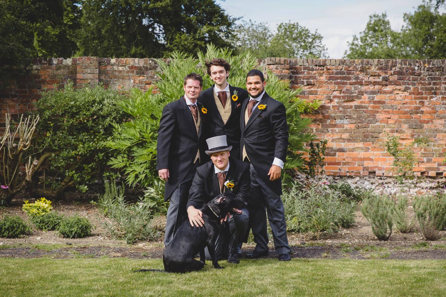 Wycombe Abbey wedding photography groomsmen portrait with dog