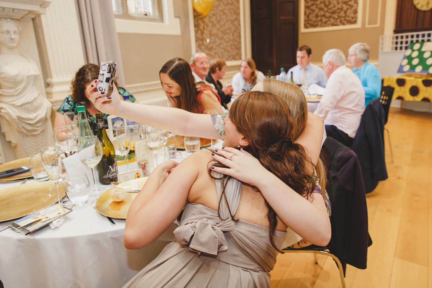 Wycombe Abbey wedding photography guests selfie