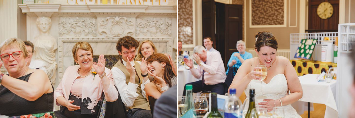 Wycombe Abbey wedding photography grooms speech guest reactions