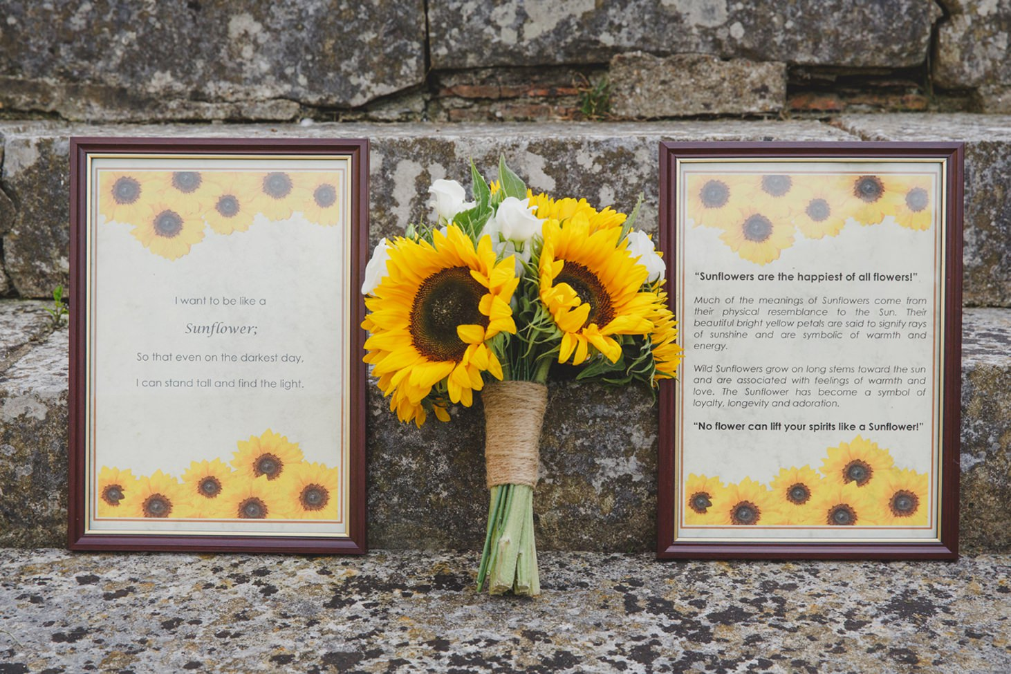 Wycombe Abbey wedding photography sunflowers bouquet