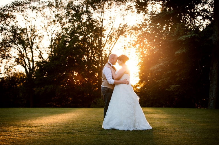 Wycombe Abbey wedding photography bride and groom at golden hour