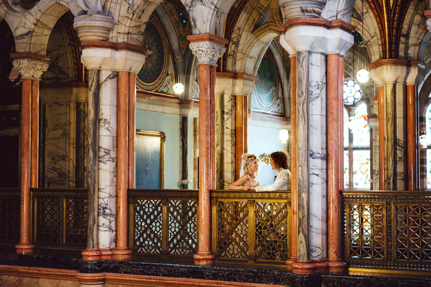 mount stuart wedding photography bride and groom in marble