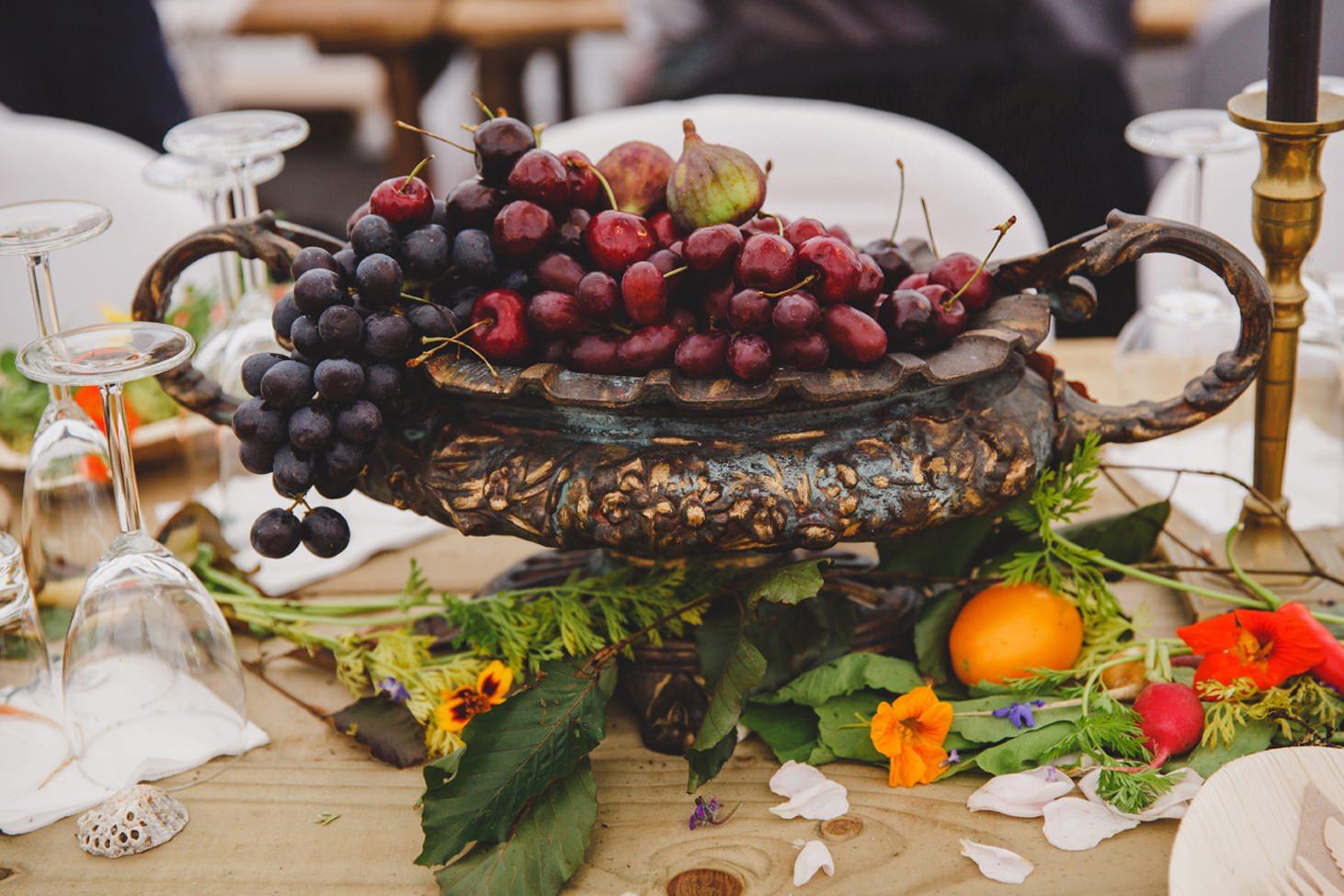 mount stuart wedding photography grapes table decoration