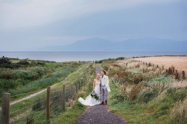 isle of bute wedding photography bride and groom in pathway