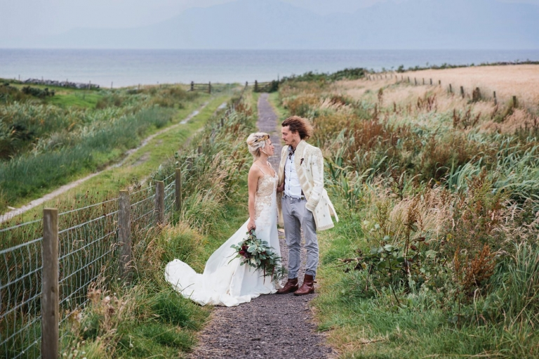 isle of bute wedding photography groom and bride and path