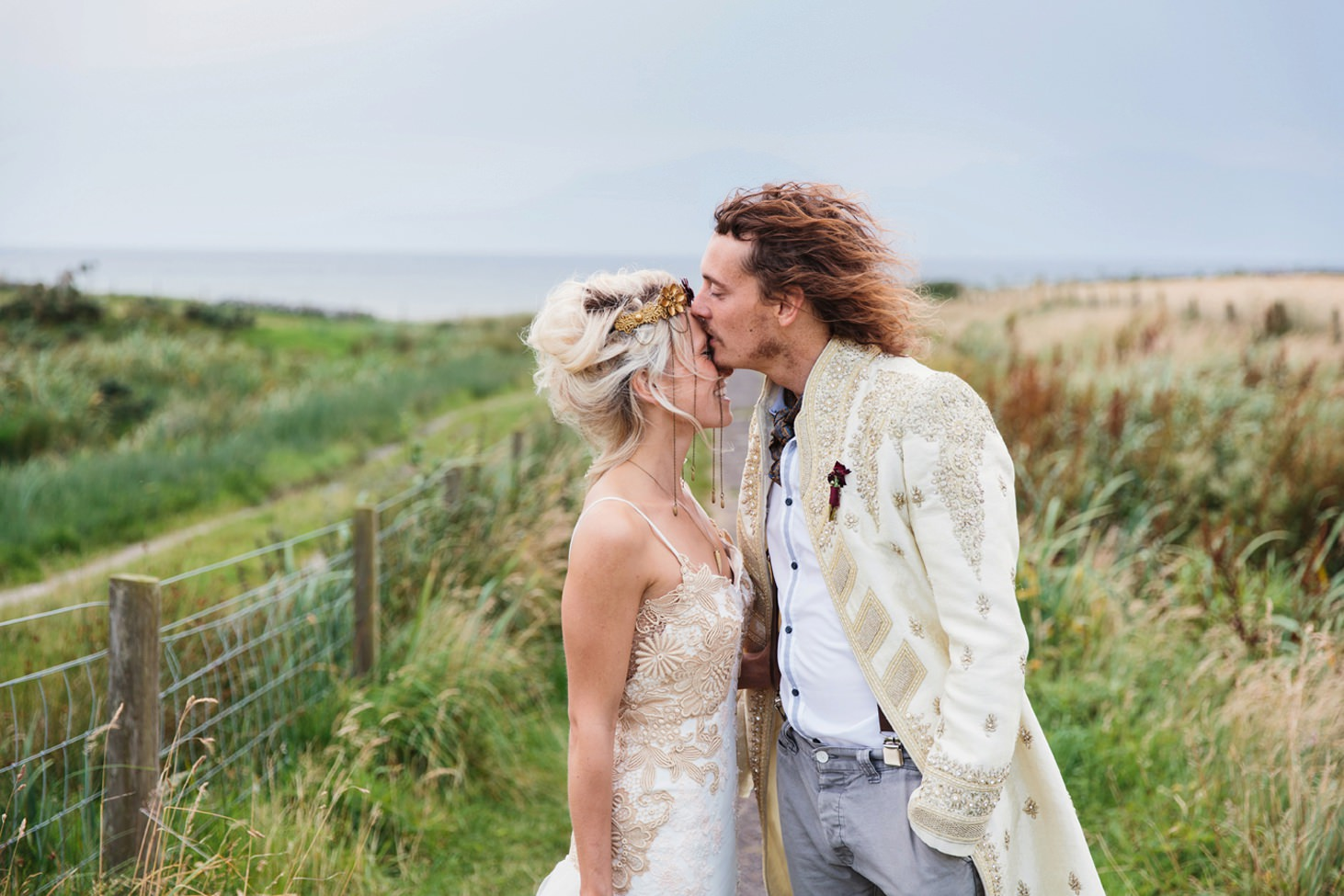 isle of bute wedding photography groom kissing bride
